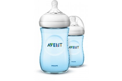 Made in UK - Avent Natural Blue Bottle 9oz/260ml Twin Pack