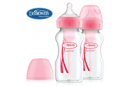 Dr Brown's Options+ Wide Neck 270ml Anti-Colic Bottle Twin Pack - Pink