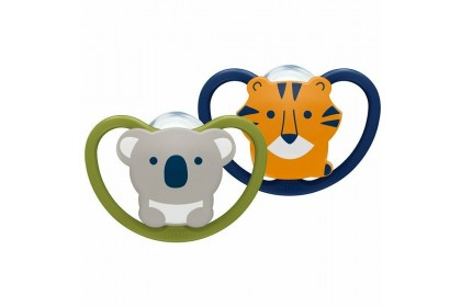 NUK Space Soother Koala and Tiger (6-18 Month) Twin Pack
