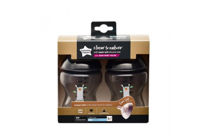 Tommee Tippee Closer To Nature 9oz/260ml Bottle Twin Pack - Black Llama Design