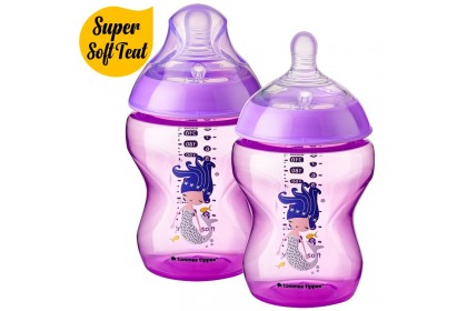 Tommee Tippee Closer To Nature 9oz/260ml Bottle Twin Pack - Purple Mermaid Design