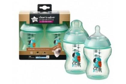 Tommee Tippee Closer To Nature 9oz/260ml Bottle Twin Pack - Green Bird Design