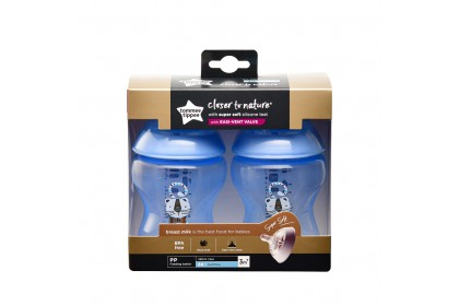 Tommee Tippee Closer To Nature 9oz/260ml Bottle Twin Pack - Blue Cat Design
