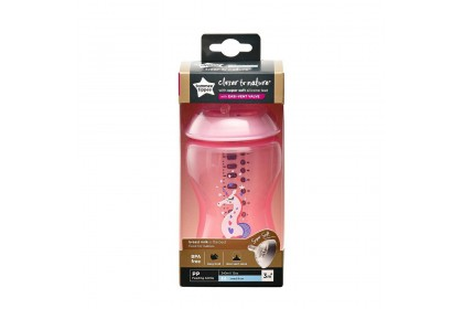 Tommee Tippee Closer To Nature 12oz/340ml Bottle Single Pack - Pink Unicorn Design