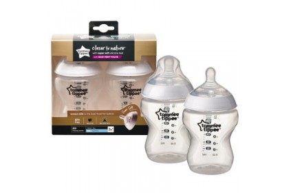 Tommee Tippee Closer To Nature 9oz/260ml Bottle Twin Pack