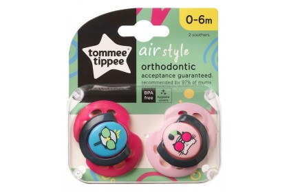 Tommee Tippee Air Style Soothers Twin Pack (0-6 Months)