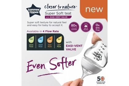 Tommee Tippee Closer To Nature 5oz/150ml Bottle Single Pack - Silver Castle Design