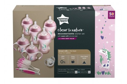 Tommee Tippee Closer To Nature Decorated Newborn Starter Set Pink Unicorn