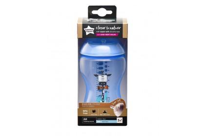 Tommee Tippee Closer To Nature 12oz/340ml Bottle Single Pack - Blue Giraffe Design